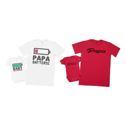 2 T-Shirts für Vater und Baby: Baby Voll Batterie - Papa Batterie /2XL / 6-12 Monate
