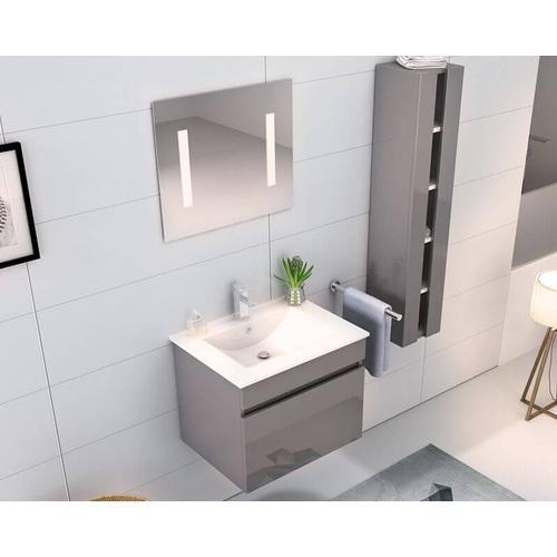 Möbilia Badezimmer Set Hochglanz grau grau Hochglanz