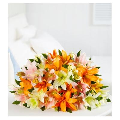 Vibrant Summer Lily Bouquet Double Bouquet Only by 1-800 Flowers