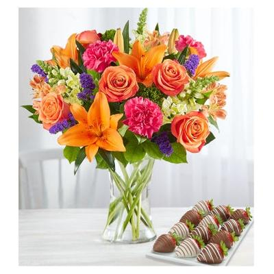Vibrant Floral Medley with Strawberries Large by 1-800 Flowers