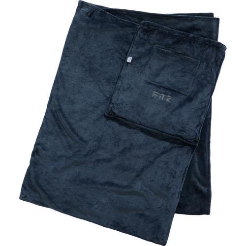 Reise-Decke mit integrierter Tasche, grau