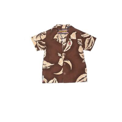 Quiksilver Short Sleeve Button Down Shirt: Brown Floral Tops - Size 18 Month