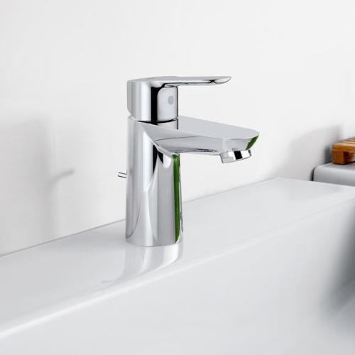 Grohe BauEdge Einhand-Waschtischbatterie, S-Size mit Ablaufgarnitur aus Kunststoff 23328000