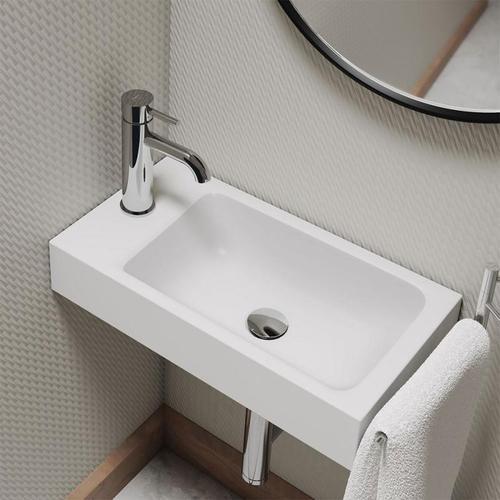 Kaldewei Puro Handwaschbecken B: 55 T: 30 cm, Becken rechts weiß, mit 1 Hahnloch 901206393001