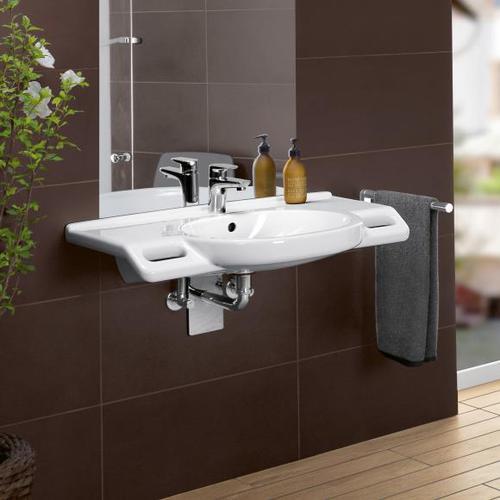 Villeroy & Boch ViCare Waschtisch, unterfahrbar, B: 80 T: 55 cm weiß mit CeramicPlus und AntiBac 412080T2