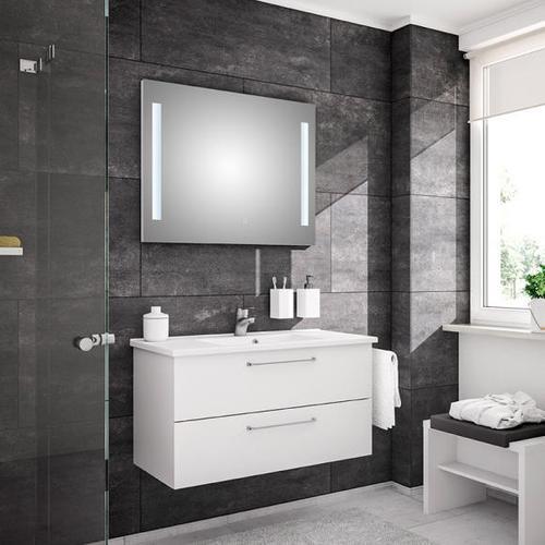 Artiqua 890 Block Waschtisch mit Waschtischunterschrank und LED-Spiegel B: 100 cm Front: weiß glanz/verspiegelt, Korpus: weiß glanz 890.11091005, EEK: A+