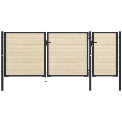Zauntor Stahl und Fichtenholz 413×200 cm
