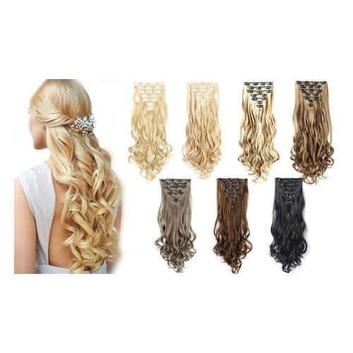 7er-Set Clip-in-Haarverlängerung: Mix-Braun