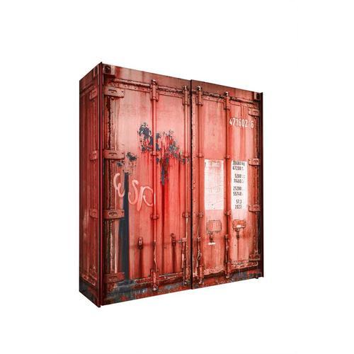 Kleiderschrank Josh Container-Optik 2 große Schwebetüren B 170 cm H 196 cm rot