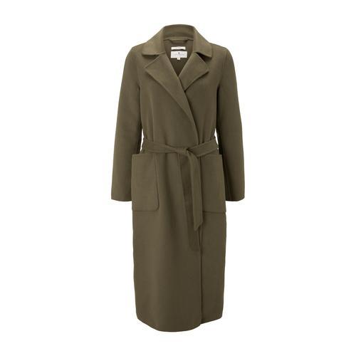 TOM TAILOR Damen Langer Mantel mit Bindegürtel, grün, Gr.L