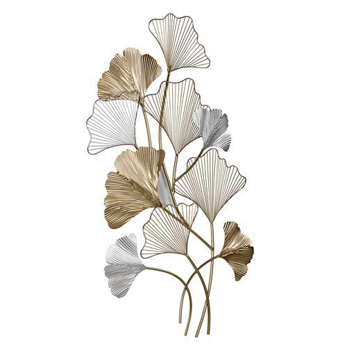 Wanddeko Ginkgo-Blätter silberfarben Wanddekoration Deko Wohnaccessoires