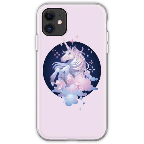 Pastellrosa und blaues magisches Kristalleinhorn Flexible Hülle für iPhone 11