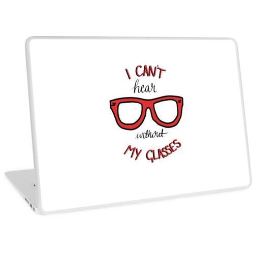 Ich kann ohne meine Brille nicht hören - Mut zum feigen Hund Laptop Skin
