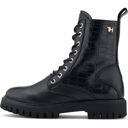 Tommy Hilfiger, Schnür-Boots Croco Look in schwarz, Boots für Damen Gr. 38