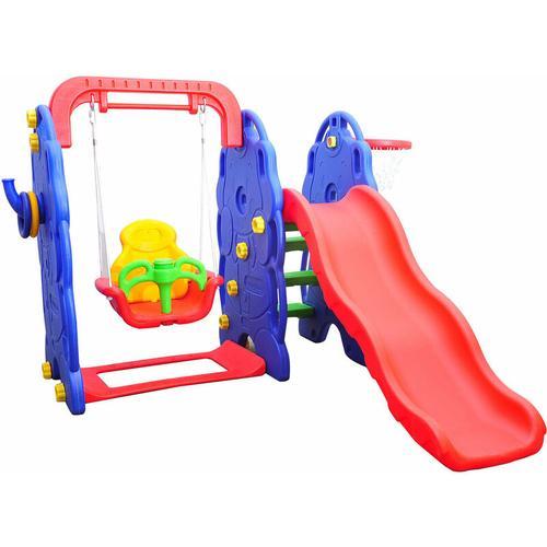 ® Kinderrutsche Gartenrutsche Elefantenrutsche mit Schaukel - bunt - Homcom