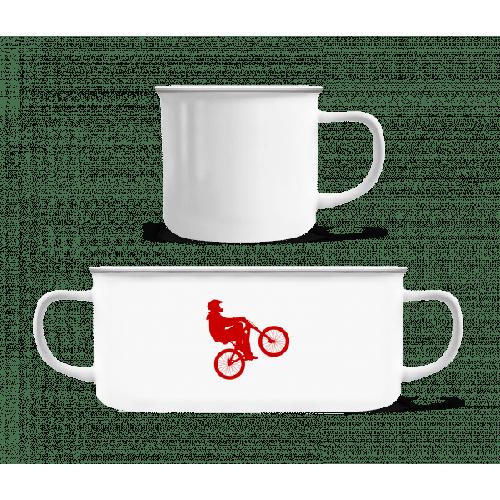 Radfahrer Wheelie - Emaille-Tasse