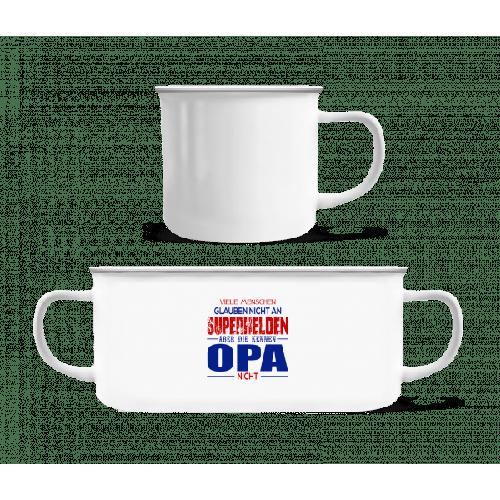 Superhelden Opa - Emaille-Tasse