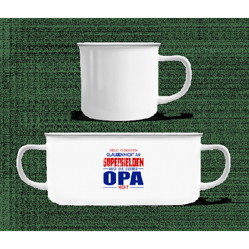 Superhelden Opa - Emaille-Tasse