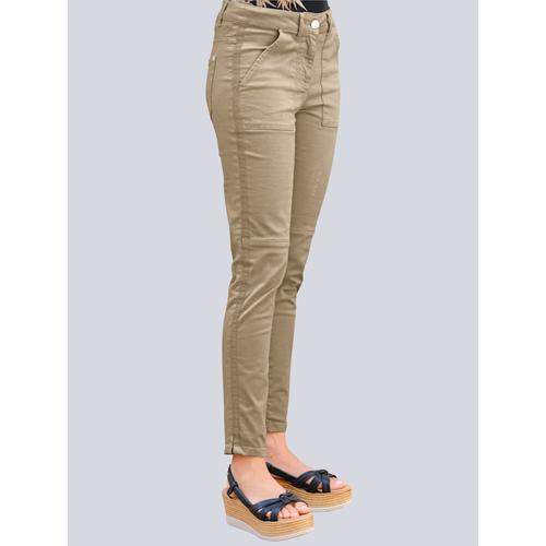 Alba Moda, Hose mit Ripsband entlang der Seitennaht, beige