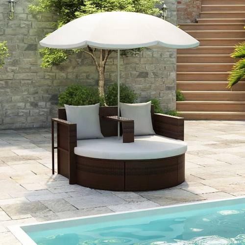 Gartenbett mit Sonnenschirm Braun Poly Rattan - Youthup