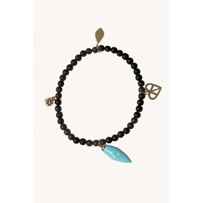 Pave Heart Beaded Stretch Bracelet