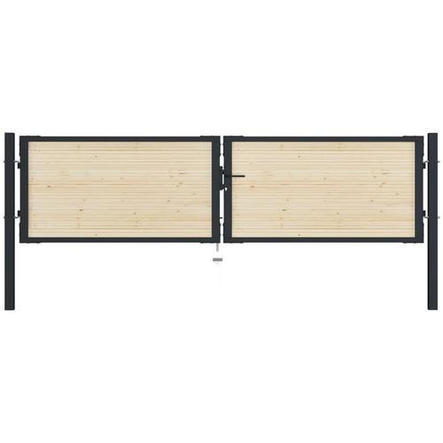 Zauntor Stahl und Fichtenholz 310×125 cm
