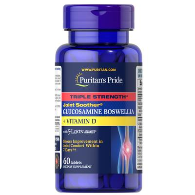 Puritan's Pride Triple Strength Joint Soother Glucosamine Boswellia + Vitamin D-60 Tablets