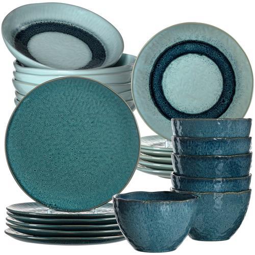LEONARDO Kombiservice Matera, (Set, 24 tlg.), rustikale Optik blau Geschirr-Sets Geschirr, Porzellan Tischaccessoires Haushaltswaren