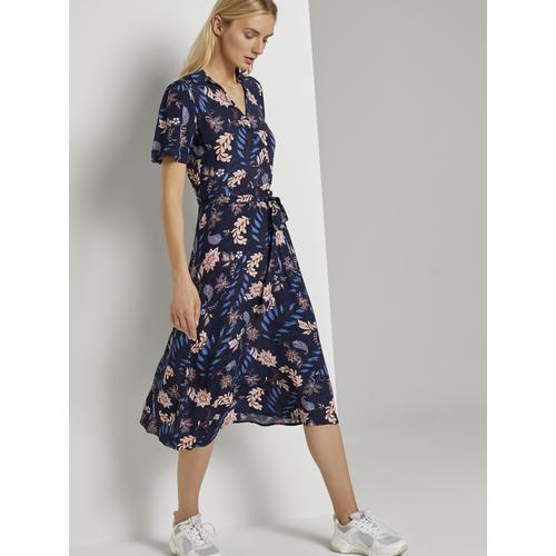 TOM TAILOR Wickelkleid mit Blumenmuster blau Damen Wickelkleider Kleider