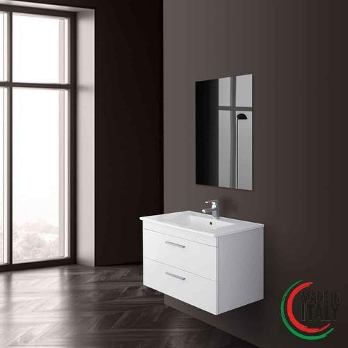 Abgehängter Badezimmerschrank 81 cm weiße Farbe stella 799005 | Weiß lackiert - Feridras