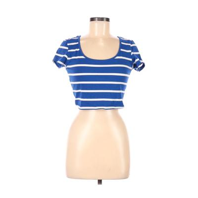 Ambiance Apparel - Ambiance Apparel Short Sleeve T-Shirt: Blue Stripes Tops - Size Large