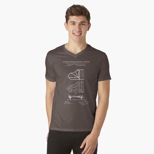 Steinway Klavierlack Weiß t-shirt:vneck