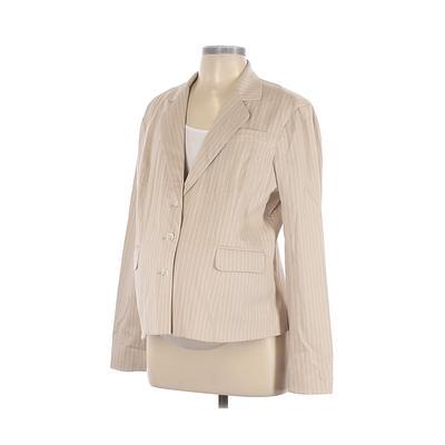Mimi Maternity Blazer Jacket: Tan Stripes Jackets & Outerwear - Size Large Maternity