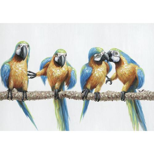 La Casa »Papagaien auf Ast I« Ölbild handbemalt 100x70 cm