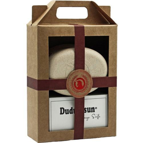 Unicorn Geschenk-Set unicorn Seifendose aus Flüssigholz groß + sahneweiß & Dudu-Osun PURE - 150g Körperpflegeset