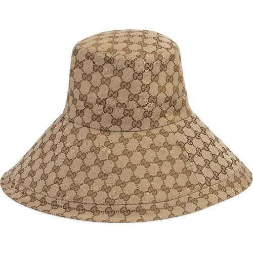 Gucci Hut aus GG Canvas mit breiter Krempe