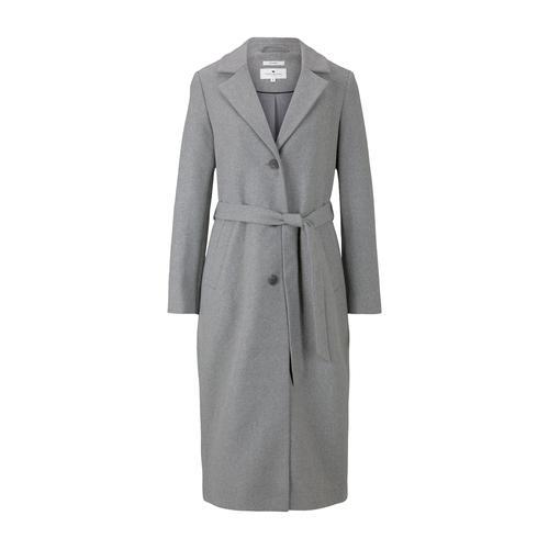 TOM TAILOR Damen Langer Mantel mit Bindegürtel, grau, Gr.XXL