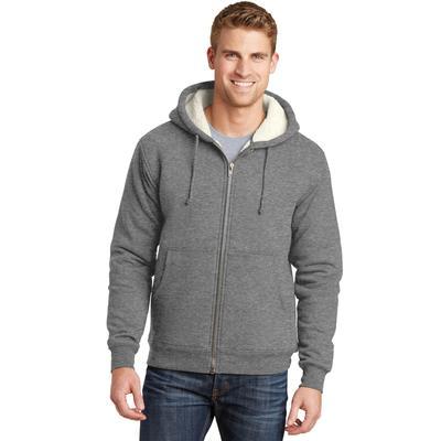 CornerStone CS625 Heavyweight Sherpa-Lined Hooded Fleece Jacket in Grey size 6XL