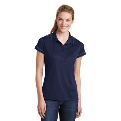 Sport-Tek LST659 Women's Contrast Stitch Micropique Sport-Wick Polo Shirt in True Navy Blue size Small | Polyester