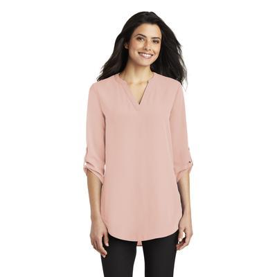 Port Authority LW701 Women's 3/4-Sleeve Tunic Blouse in Rose Quartz size 2XL | Crepe