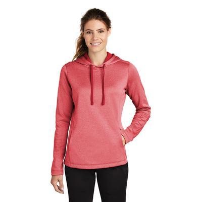 Sport-Tek LST264 Women's PosiCharge Sport-Wick Heather Fleece Hooded Pullover T-Shirt in Deep Red size 2XL | Polyester