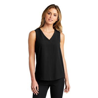 Port Authority LW703 Women's Sleeveless Blouse Top in Black size Large | Polyester