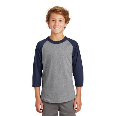 Sport-Tek YT200 Youth Colorblock Raglan Jersey T-Shirt in Heather Grey/Navy Blue size Small   Cotton