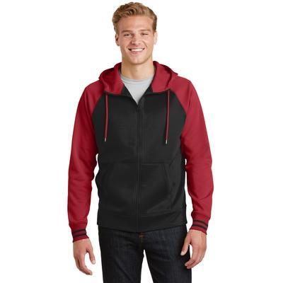 Sport-Tek ST236 Sport-Wick Varsity Fleece Full-Zip Hooded Jacket in Black/Deep Red size Medium   Polyester