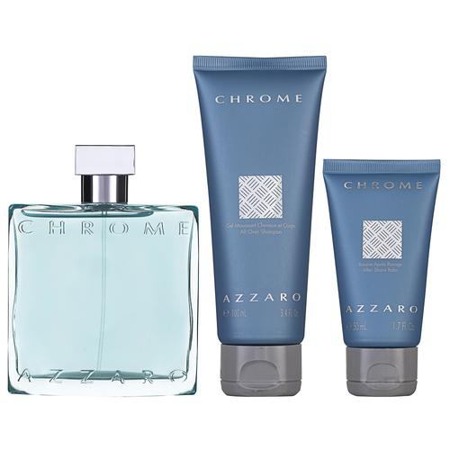 Azzaro Chrome EDT Geschenkset EDT 100 ml + 100 ml Shampoo + 50 ml Aftershave Balm