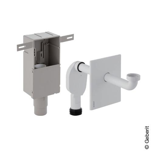 Geberit Unterputz-Geruchsverschluss für Waschbecken, mit Wandeinbaukasten & Fertigbauset weiß 151120111