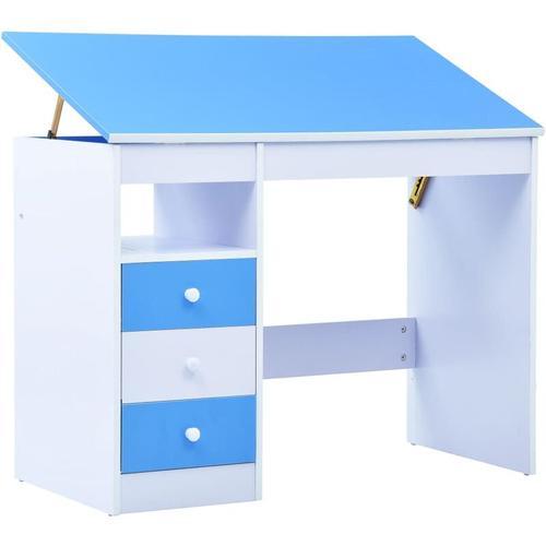 Kinderschreibtisch Kippbar Blau Weiß