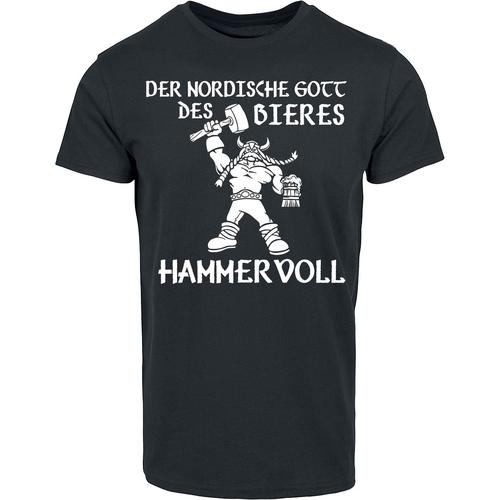 Der nordische Gott des Bieres - Hammervoll Herren-T-Shirt - schwarz