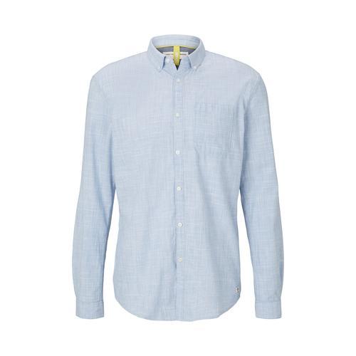 TOM TAILOR DENIM Herren Feines Slim Fit Hemd, blau, Gr.XXL