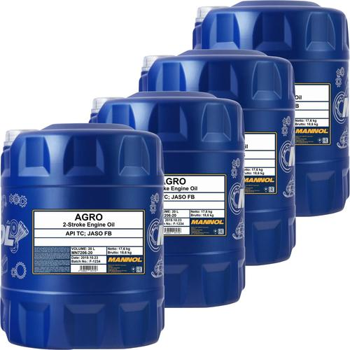 4x 20l Mannol Motoröl Agro Mineralisch 2-takt-motor Husqvarna